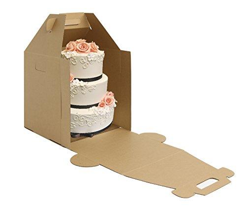 W PACKAGING WPTC1012KE 10x10x12 Kraft/Kraft Plain Tiered Cake Box, No Window, Lock Corner, E-Flute (Pack of 10)