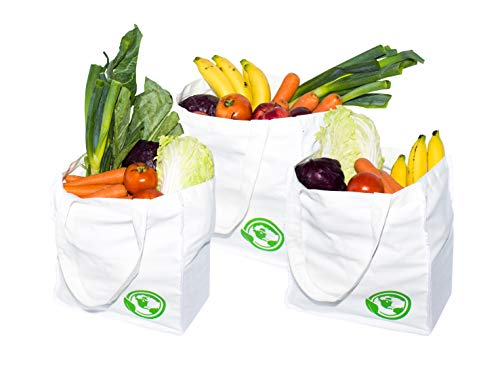 S.O.S Washable Reusable Grocery Bags+4 Pockets,Canvas Tote Bag,Grocery Bags Reusable,Cloth Grocery Tote Bags&Organic Reusable Grocery Shopping Bags,Cotton Grocery Tote Bag,Durable Shopping Bag- 3 Bags