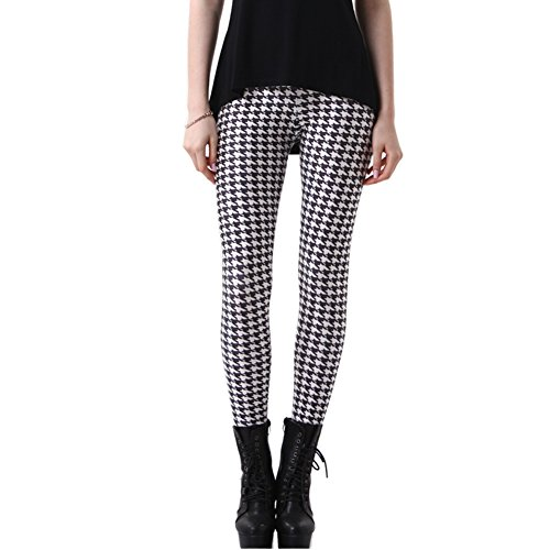 JOYHY Women's Plus Size Stretchy Digital 3D Printed Leggings Footless Tights Houndstooth L153