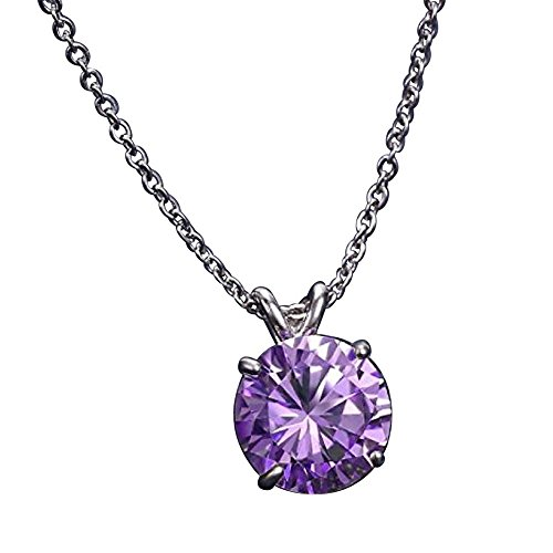 Sterling Silver June Birthstone Necklace 18 inch 2 Carat Alexandrite Necklace Anniversary Birthday Mother's Gift SSNK18-53