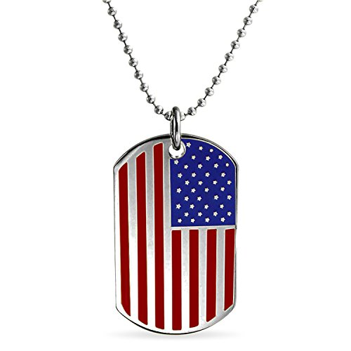 Bling Jewelry Engravable Stars and Stripes Patriotic USA American Flag Dog Tag Pendant Necklace for Men for Women Stainless Steel ()