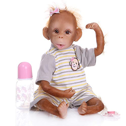 Hardli 48cm Realistic Reborn Baby Doll, Soft Silicone Vinyl Newborn Babies Monkey Lifelike Handmade Toy, Children Birthday Gifts