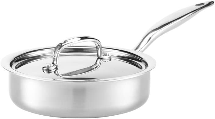 Heritage Steel 1.5 Quart Sauté Pan with Lid - Titanium Strengthened 316Ti Stainless Steel with 5-Ply Construction - Induction-Ready and Fully Clad, Made in USA