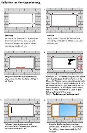 DIN Links innen wei/ß//au/ßen wei/ß Fenster Dreh- /& Kippfunktion 600 x 1000 mm 60 mm Profil 2 fach Verglasung Kellerfenster BxH: 60 x 100 cm