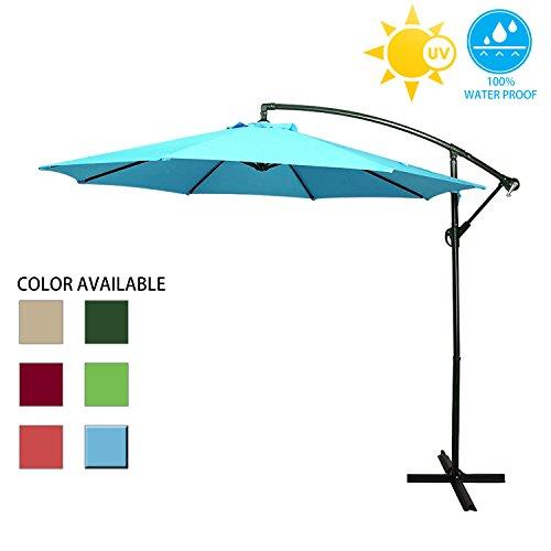 (Big Lighting Deals 10ft Offset Market Patio Unbrella Cantilever Hanging Outdoor Umbrella with Crank & Cross base (Blue))