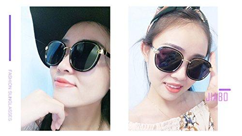 polarizada luz Gafas Cara vértigo Sombra Anti Ai de Personalidad C2 Driver Metal Ms Color C1 Redonda Espejo los Resistente con lele a Rayos Sol UV X51xqwnYfq