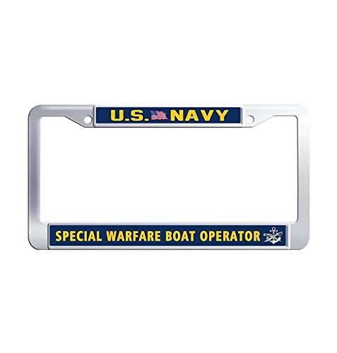 JiuznsFrame US Navy Special Warfare Boat Operator License Plate Frame, Waterproof Stainless Steel Metal License Frame car Holder with Screw Caps