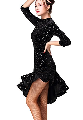 Jupe Valse Jupe De Bal Robe De Velours Robe De Danse Latine Rumba Robe Cha Cha Robe Étoile Noire
