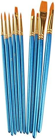 ROSENICE ブラシ水彩画筆セット ナイロン 10個入り(ブルー)
