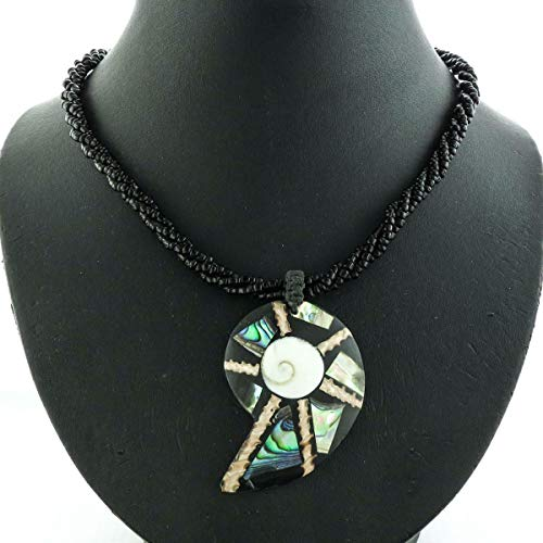 Mosaic PAUA Abalone SHIWA EYEY Shell Pendant Black Glass Seed Beads Necklace YE-2932