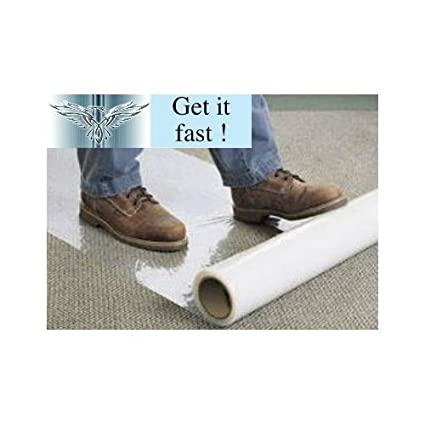 Phoenix Supplies 2 x 25m Rolls Clear polythene self Adhesive Carpet Protector Film, Free Express Delivery
