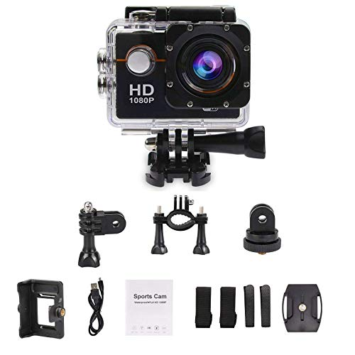 DMG 1080P WiFi Action Camera Waterproof Sports Helmet Cam with Mounting Accessories Kit  Black