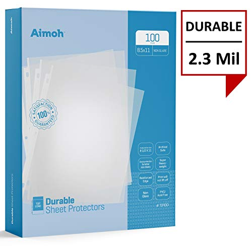 (Aimoh Durable Reference Non–Glare Sheet Protectors 100-Count – Page Size – Fits 8.5 x 11 Paper – Reinforced Edge – 3 Hole Design – 9.25 x 11.25 – Top Load (13100))