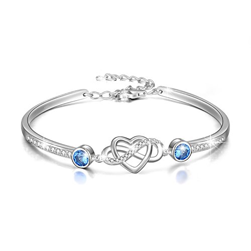 AOBOCO 925 Sterling Silver Infinity Endless Love Bracelet – I Love You Forever Series Adjustable 6-8 in Bracelet with Crystals from Swarovski Jewelry – Braclets Silver for Women Girls