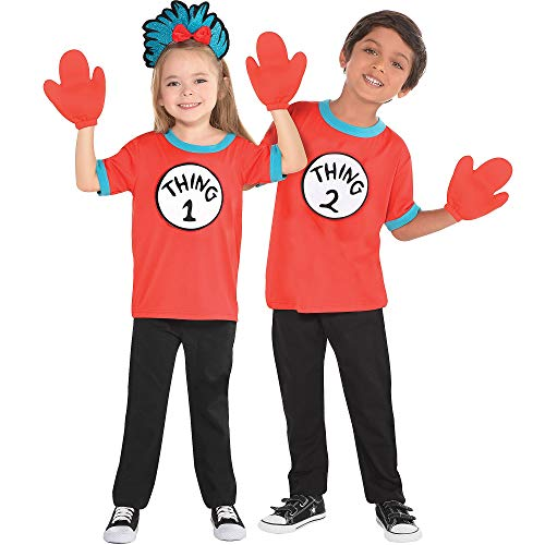 Costumes USA The Cat in the Hat Thing 1 and Thing 2 Accessory Kit for Kids, Small/Medium, 4 -