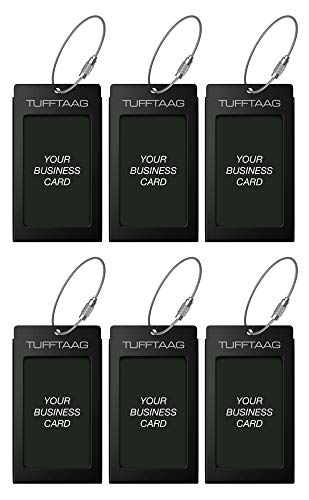 Luggage Tags Business Card Holder TUFFTAAG Travel ID Bag Tag in Many Color Options (6 Tags, 6 Black)