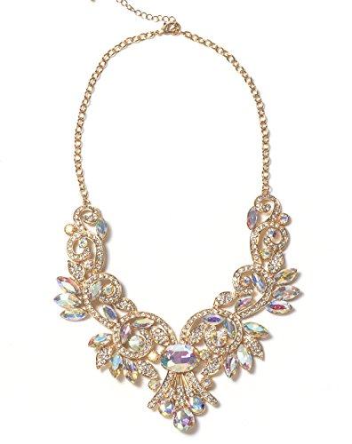 VK Accessories Gold Gorgeous Crystal Necklace Refinement Diamante Gemstone Statement Collar Marquise