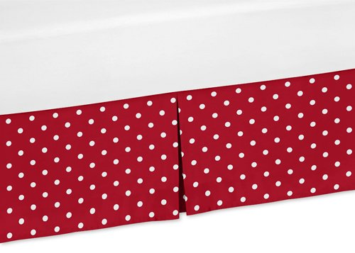 - Sweet Jojo Designs Polka Dot Crib Bed Skirt Dust Ruffle for Little Ladybug Collection Bedding Sets
