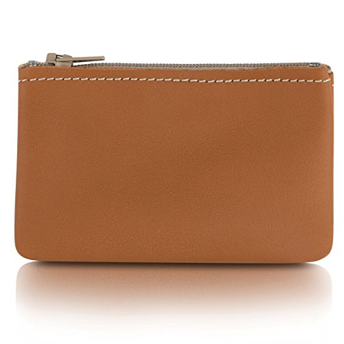 Mini Leather Womens Tan (Zippered Coin Pouch, Change holder For Men/Woman made with Genuine Leather, Coin Purse, Pouch Size 4x2.5 inches, Made IN USA (Tan))