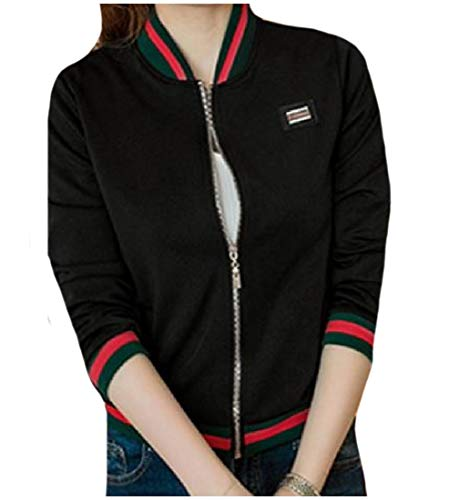 Howme Long Jacket Zip Black Stretchy Front Sleeve Women Oversized Varsity AAFqR5