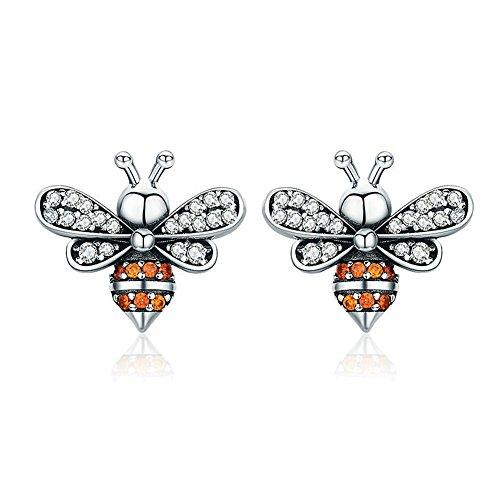 Sterling Silver Honeybee Bee Stud Earrings (Er19) - Sterling Silver Honey