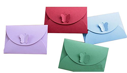 (Furnido 10pcs Colored Kraft Paper Mini Envelopes Butterfly Clasp Design Birthday awards ceremony wedding business gifts advertising promotions anniversary celebrations fairs festivals Christmas Party )