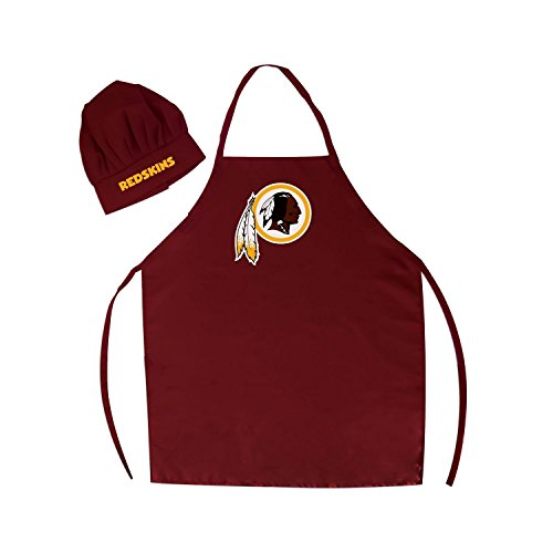 - Wirezoll NFL Washington Redskins Chef Hat and Apron Set, Burgundy, One Size