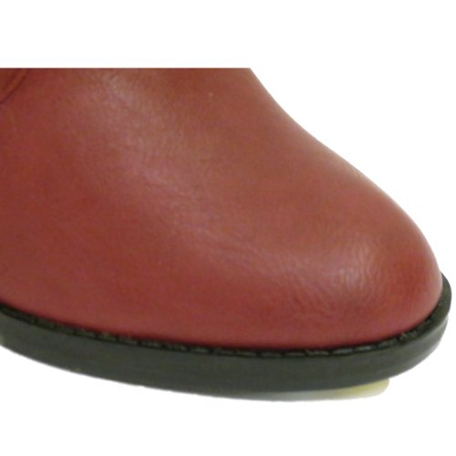 Damen Rote Ex-Designer Reißverschluss Knöchel Biker Buckle Absatz Stiefel Schuhe Größen 3-9
