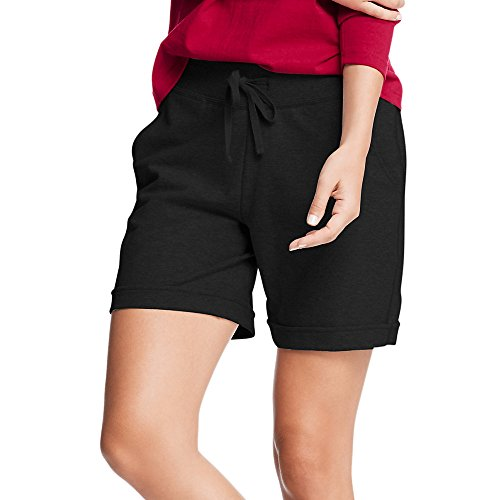 Hanes Womens French Terry Bermuda Pocket Short(O4681)-Black-L
