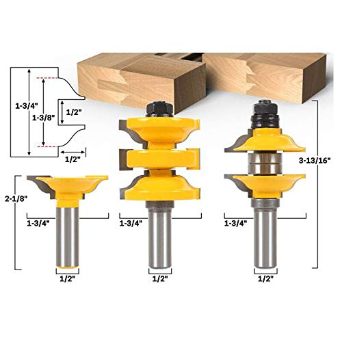 LEATBUY Router Bit Set 1/2-Inch Shank 3 PCS, Extended Tenon Entry Door Rail and Stile Router Bit Set, Woodworking Milling Cutter Tools, Carbide Cutter CNC Router Grooving Mill ()