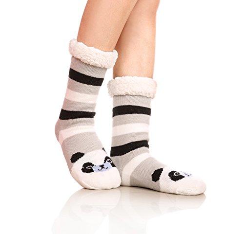 Panda Gift (Womens Sherpa Winter Fleece Lining Knit Animal Christmas Socks Non Slip Warm Fuzzy Cozy Slipper Socks (Panda))