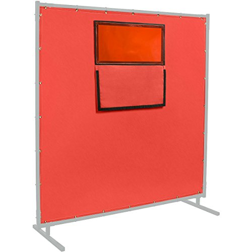 Steiner 384-338F-6X6 Protect-O-Screen HD Weld-View 16-Ounce Curtain with ArcView Flame Retardant Orange Tinted Viewing Window with Cover Flap, Red, 6' x 6' by Steiner