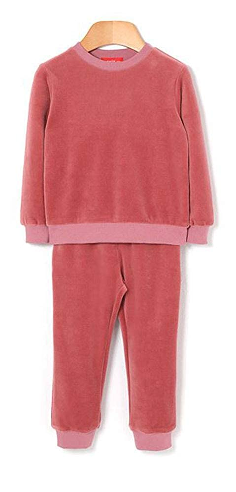Mallow Velvet Little Girls and Toddlers Two Piece Pink Velvet Clothing Set with Long Sleeve Top and Pants