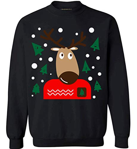 Awkward Styles Christmas Reindeer Sweatshirt Funny Xmas Ugly Christmas Sweater. Black L (Photos Awkward Xmas)