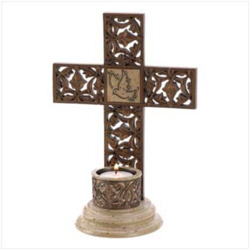 Dove Cross Tealight Candle Holder (Dove Candle)