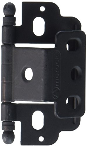 - Amerock PK3180TBFB Full Inset Hinge - Partial Wrap - .75 in. Door Thickness - Ball Tip - Flat Black