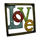 Zeckos Metal Wall Sculptures Colorful Led Lighted Metal Framed Love Wall Sculpture 25 X 25 X 2 Inches Multicolored For Sale