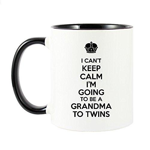 Mama Birdie I Can't Keep Calm I'm Going To Be A Grandma To Twins Coffee Cup/Tea Mug (White/Black) by Mama Birdie