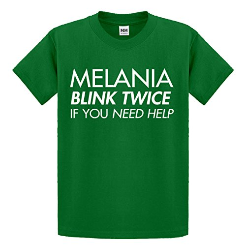 Youth Melania Blink Twice if You Need Help! X-Small Kelly Green Kids T-Shirt