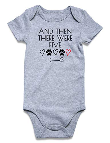 0-3 Months Child Baby Boy Girl Unisex Announcement Onesie Costume and Then There were Five Paws Print Short Sleeve Winter Pregnancy Reveal Romper Shower Gift Pure Gray Bodysuit Bulk Newborn