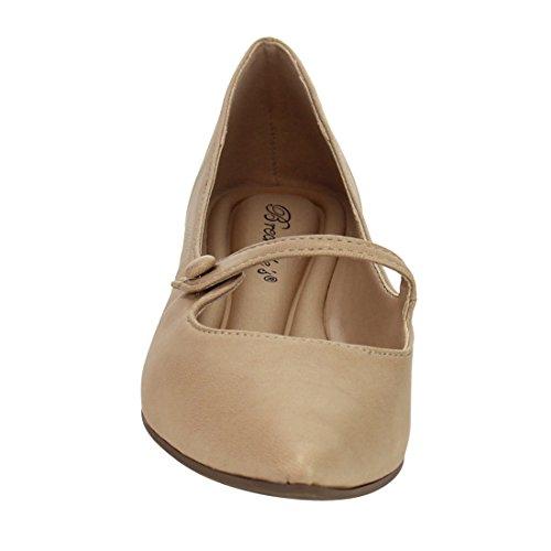Breckelles Spisse Tå Ballet Flat - Mary Jane Flat - Slip On Flat - Gi91 Av Naturlig Lær