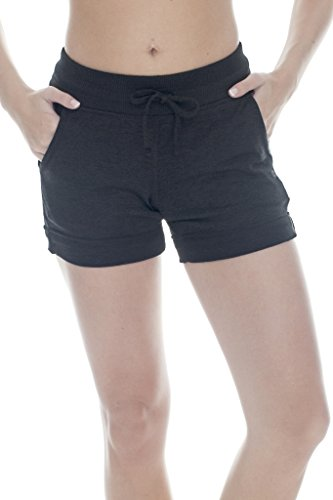 90 Degree By Reflex Activewear Lounge Shorts - Heather Charcoal XS