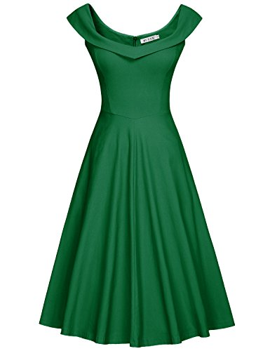 MUXXN Women's Classy Halter Back Sheath Special Occasion Dress (2XL Pure Green)