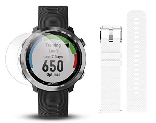 Garmin Forerunner 645 Bundle with Extra Band & HD Screen Protector Film (x4) | Running GPS Watch, Wrist HR, LiveTrack, Garmin Pay (Stainless, White) by PlayBetter (Image #1)