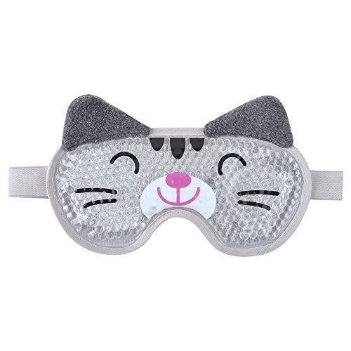 Eye Cooling Mask Gel Bead Eye Mask Reusable Cute Eye Mask with Soft Plush, Cold Eye Mask for Puffy Eyes for Women and Men - Cat ()