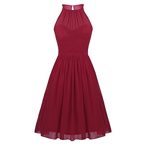 Freebily Vestidos Elegante para Boda Vestidos Corto de Gasa de Fiesta para Mujeres, Cuello Colgante Vestidos Dama de Honor Vino Rojo