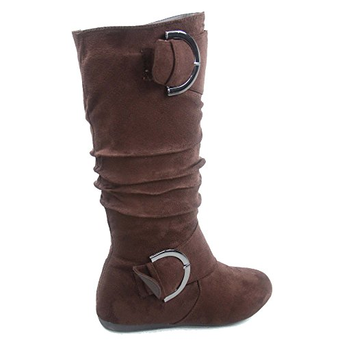 Slouchy Brown Mid Fashion Buckle 81 Bank Shoes Flat Top Women's Calf Round Moda Zipper Boot Toe Heel nq47CP