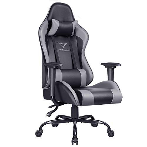 Gaming Office Chair Ergonomic Desk Chair High Back Racing Style Computer Chair Swivel Executive Leather Chair with Lumbar Support and Headrest (Grey)