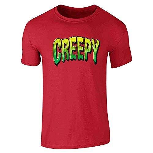 Creepy Retro Comic Text Halloween Costume Horror Red 2XL Short Sleeve -
