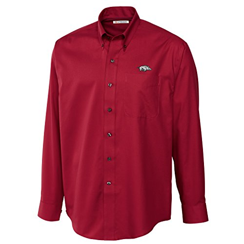 Cutter & Buck NCAA Arkansas Razorbacks Men's Long Sleeve Epic Easy Care Fine Twill Shirt, 3X-Large, Cardinal Red